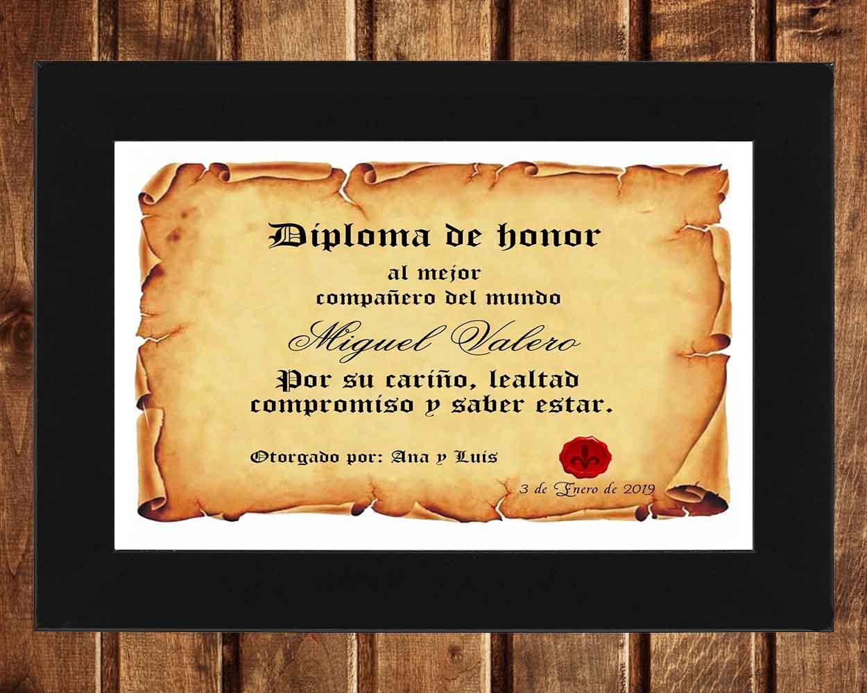 Diploma Personalizado De Pergamino Al Mejor Compañero